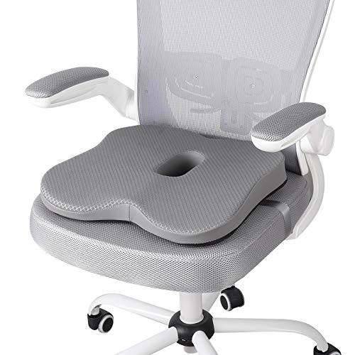 TISHIJIE Memory Foam Seat Cushions for Pressure Relief - Coccyx Cushion & Tailbone Pain Relief Cushion - for Office Chair, Car Seat, Wheelchair Etc. (Gray)