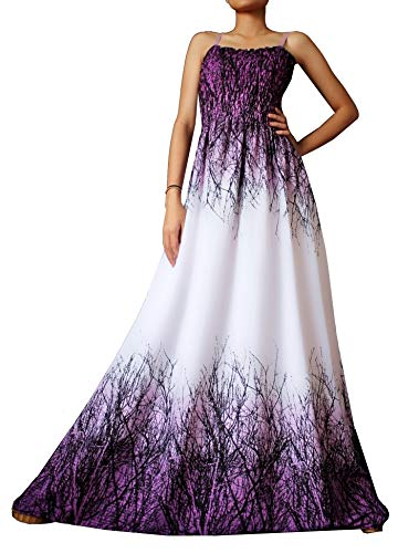 Women Floral Plus Size Maxi Dress Casual Long Sexy Summer Hawaiian White Peacock Sleeveless Sundress (Large(Length 58 inches), White Purple Tree Branches)