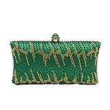 BESTWALED Bolsa de Mano Para Fiesta de Noche De Las Mujeres Bolso De Embrague Boda Maquillaje Bolsas Banquete Damas Clutch Fiesta Seda y diamante Verde