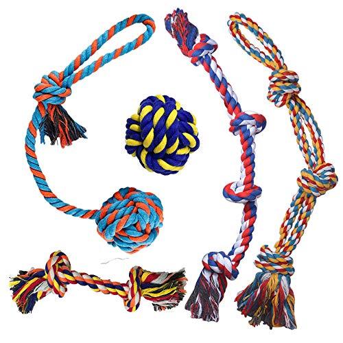 GaiusiKaisa 5PCS Alle XXL Hundespielzeug Seil für Große und Mittlere Hund - Robust Seil Hundespielzeug für Aggressive Kauer - Nahezu Unzerstörbar - Hundespielzeug Ball - Tauziehen Seil Ball zum Kauen