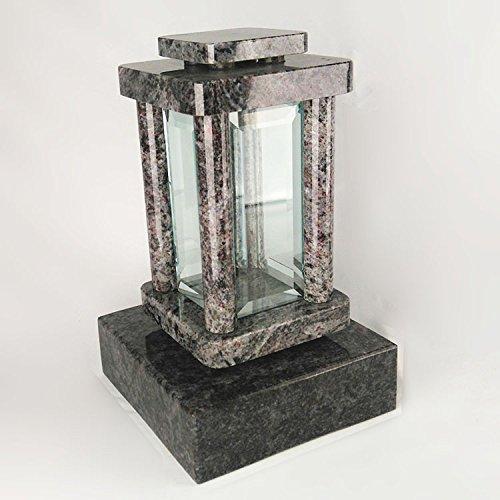 designgrab moderne Lampe Funéraire avec socle en granit Orion Blue/Coromandel/Bahama Blue, pierre tombale Set