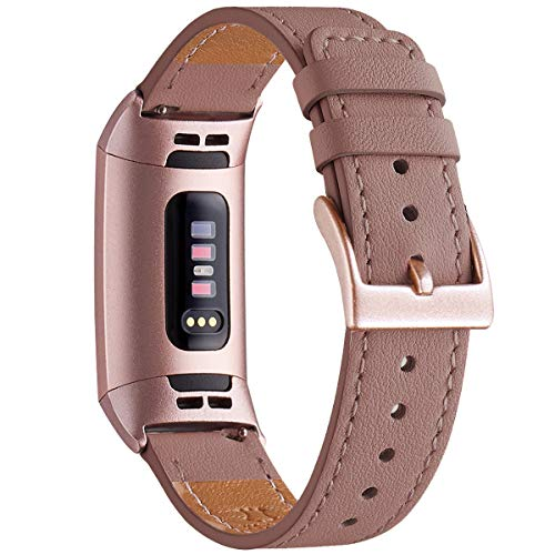 WFEAGL Armband Kompatibel für Fitbit Charge 3 Armband/Fitbit Charge 4 Armband Leder, Klassisch Einstellbares Ersatzarmband Sport Kompatibel für Fitbit Charge 3/4 (Mauve+Roségold Adapter)