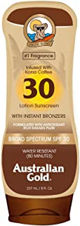 Australian Gold Sunscreen Lotion with Kona Coffee Infused Bronzer SPF 30, 8 Ounce | Broad Spectrum | Water Resistant