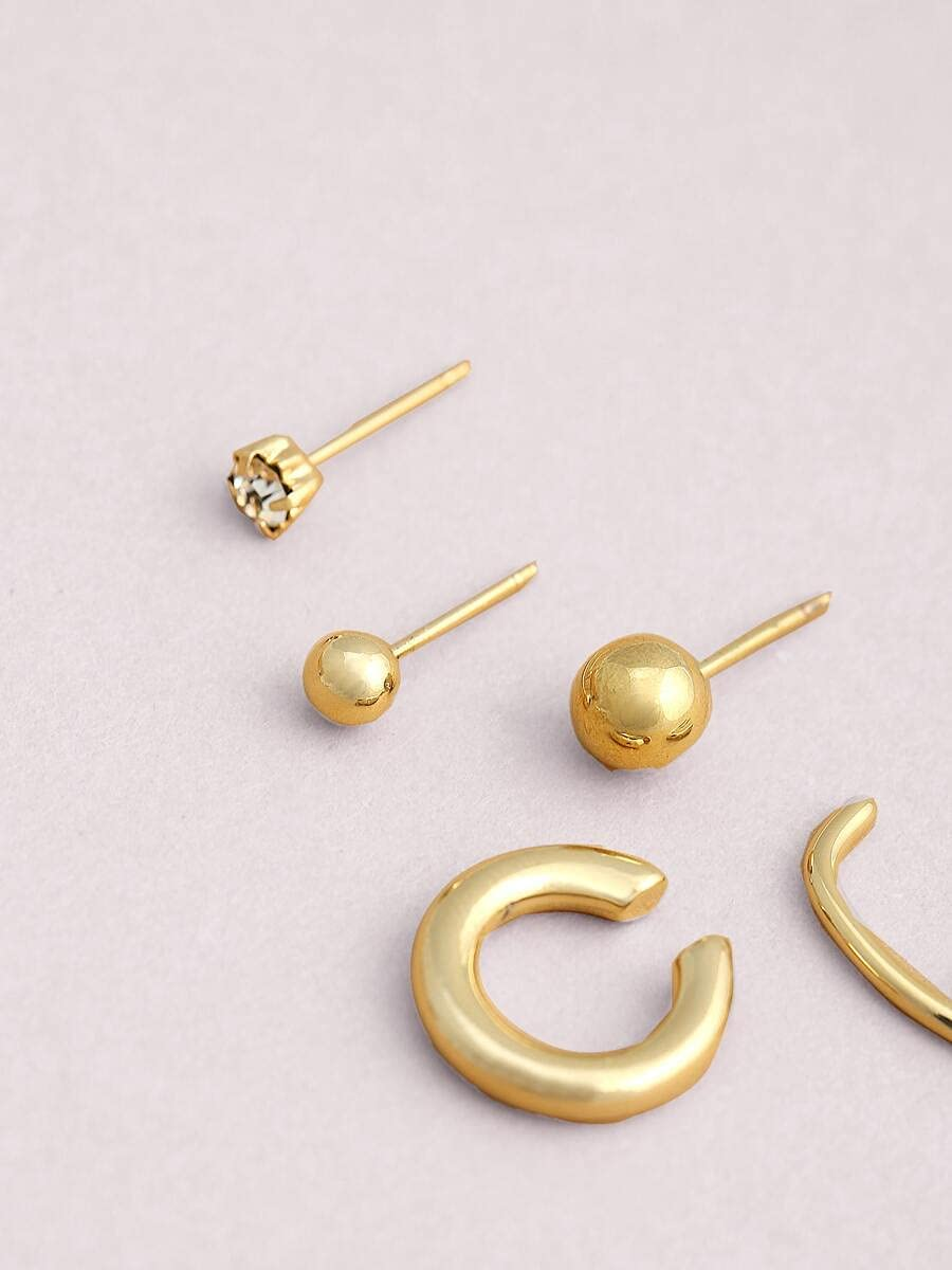 Sensecrol Hoop Earrings 5pieces Mini Stud and Ear Cuffs (Color : Gold)
