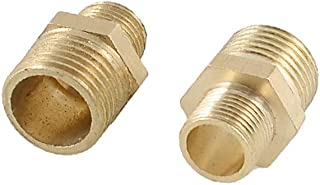 X-DREE 2 Pcs Air Pneumatic Pipe 12.5mm to 9mm M/M Brass Hex Reducing Nipple Coupler Fittings (549911df-a222-11e9-8d7c-4ced...