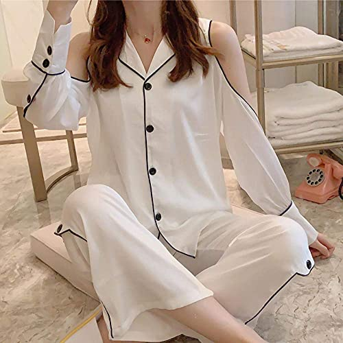 Living Room Accessories Long Sleeve Sleepwear Set Hollow Out White Shirts Pants Homewear Turn-down Collar Women s Pajamas-color1_L