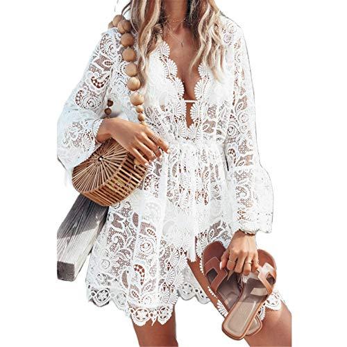 Geagodelia Damen Strandkleid aus Spitze Pareo Boho Floral Lace Poncho Bikini Coverups Mesh Netz Überhose Trikot Cardigan Transparent Tunika Dress Sarong Beachwear Gr. M, weiß
