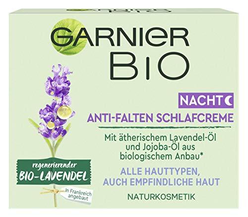 Garnier Bio Naturkosmetik Anti-Falten Nachtpflege regenerierender Bio-Lavendel, mit Lavendel- und Jojoba-Öl für empfindliche Haut, mit Inhaltsstoffen aus biologischem Anbau