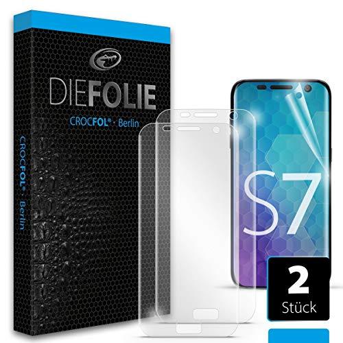 Crocfol Schutzfolie vom Testsieger [2 St.] kompatibel mit Samsung Galaxy S7 - selbstheilende Premium 5D Langzeit-Panzerfolie -für vorne, hüllenfreundlich