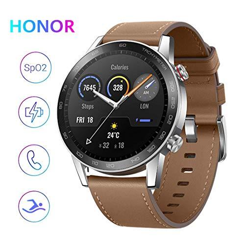 HONOR Magicwatch2 46mm SmartWatch, Fitness-Aktivitätstracker mit Herzfrequenz- und Stressmonitor, SpO2-Monitor, Übungsmodi, GPS, 5 ATM wasserdicht (Braun)
