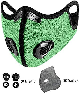 With 12 activated carbon filters, 8 filter valves, unisex, interchangeable, suitable for cycling, running, outdoor sports, black breathable ear hooks and tobacco powder (Fluorescent green) from yachen