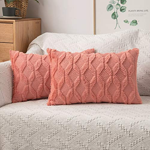 MIULEE Pack of 2 Cushion Cover Wool Throw Pillow Case Decorative Elegant With Plush Home for Sofa Bedroom Living Room Protector 30 x 50cm 12 x 20 Inch Coral red