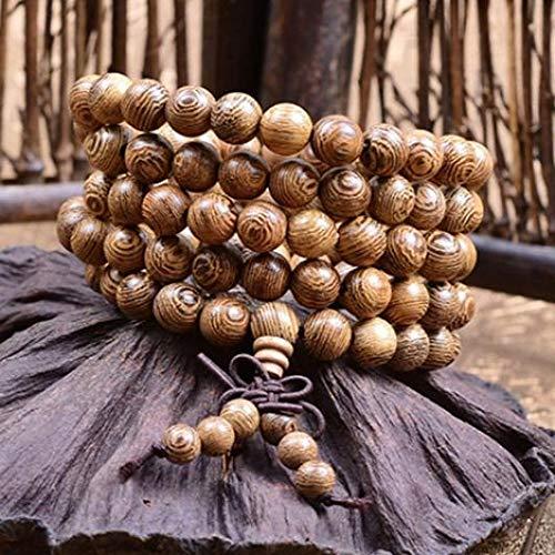beautijiam Mala Beads Pulsera Unisex 108 8 mm oración Budista Rosario Collar elástico