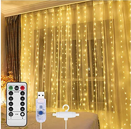 Curtain Light,8 Modes Lighting LED String Lights Remote Control USB Powered Waterproof for Christmas Bedroom Party Wedding Home Garden...