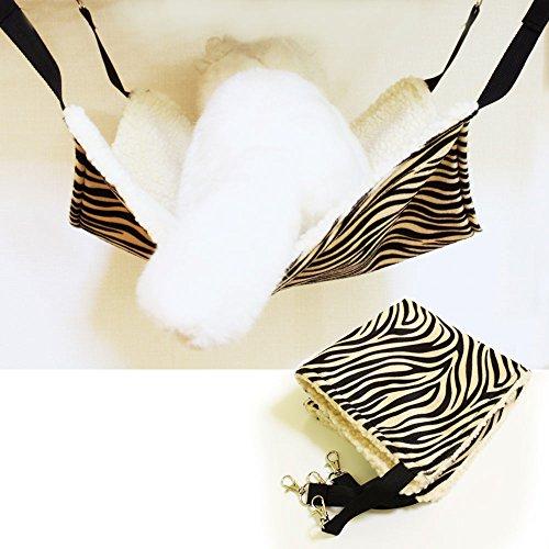 【Ani Mam Kids】ペット用 もふもふ ハンモック 猫 フェレット 小動物 ベッド (36cm, ゼブラ柄)