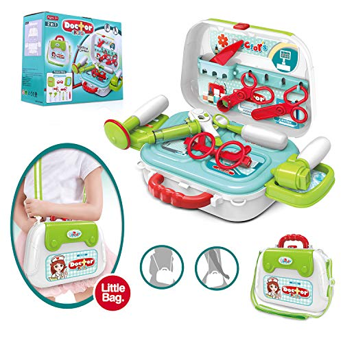 Image of INNOCHEER Kids Play Doctor Kit 20 Pieces Pretend-n-Play Medical Toys Set with Roleplay Doctor Costume and Carry Case for Little Girls Boys