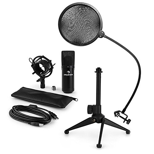 auna MIC-900B - Mikrofon-Set V2, 3-teilig, USB Kondensatormikrofon + Popschutz + Mikrofon-Tischständer, Nierencharakteristik, Plug & Play, 35cm Schwanenhals, höhenverstellbar, schwarz