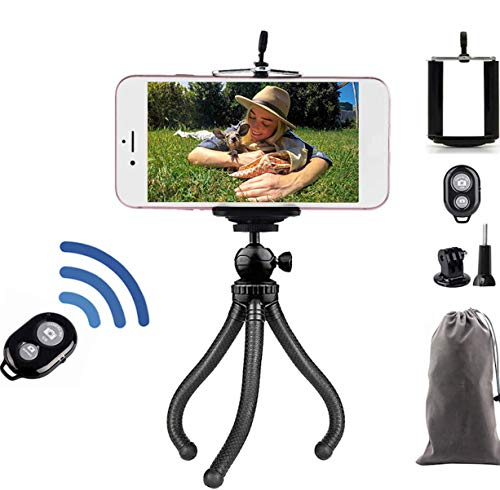 Handy Stativ mit Bluetooth, Tripod mit Fernbedienung, Flexibel Stativ für Smartphone und Kamera