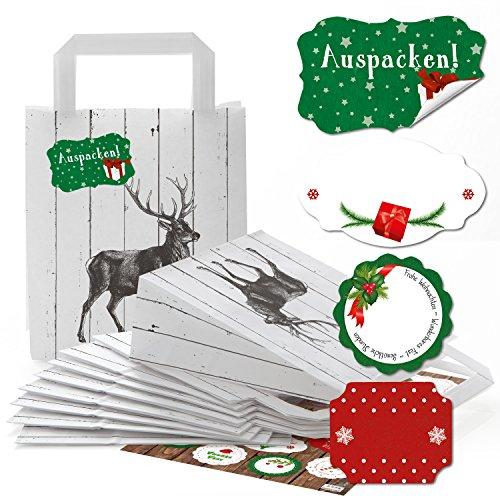 SET 25 kleine schwarz weiß Geschenktüten HIRSCH Henkel Papiertaschen Papiertüten + 34 rot grün FROHE WEIHNACHTEN Etiketten Geschenkaufkleber Weihnachtsverpackung Tüte