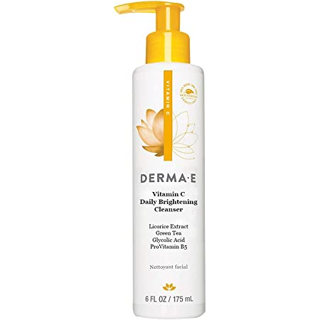 DERMA E Even Tone Brightening Cleanser -Clinically proven Skin Restore Cleanser Promotes Skin Clarity & Glow - Improves Texture & Tone, Non-Drying, Purifying Detox Face Wash, Anti-aging skin Radiance