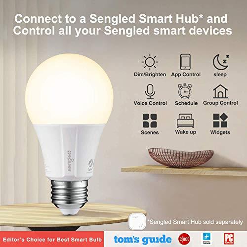 Sengled Smart Light Bulbs, Alexa Light Bulb A19 Dimmable, Smart Bulbs that Work with Alexa, Google Home, Smart LED Light Bulbs Soft White 800LM, 60W Equivalent, Zigbee Smart Hub Required, 4 Pack