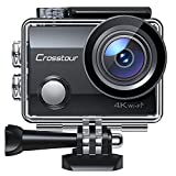 Action Camera CT7000 Full HD Wi-Fi 12MP PC Webcam Waterproof Cam 2' LCD 30M Underwater 170°Wide-Angle Sports Camera with 2 Rechargeable 1050mAh Batteries and Mounting Accessory Kits