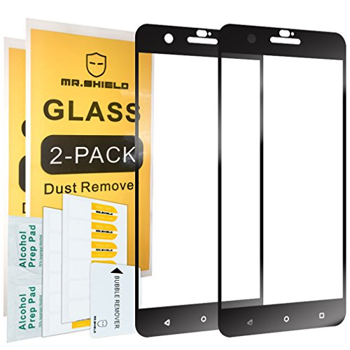 [2-PACK]-Mr Shield For HTC One X10 [Tempered Glass] [Full Cover] [Black] Screen Protector with Lifetime Replacement Warranty