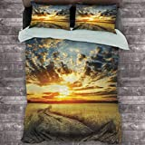 Toopeek Apartment Decor Collection Hotel Luxury Bed Linen Road in Field and Nublado Sunset Horizon Valley Campo Cosecha Temporada Poliéster - Suave y Transpirable (Queen) Azul Dimrey
