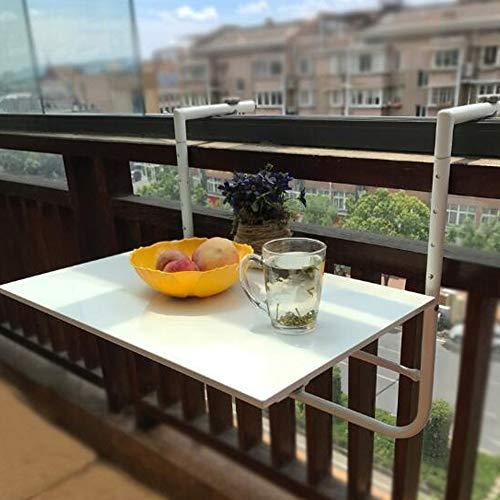 ADUGEN Klappbarer Balkonhängetisch Klapptisch Balkongeländer-Hängetisch Höhenverstellbarer Multifunktionstisch 60 * 40 Multiszenario-Anwendung,Weiß