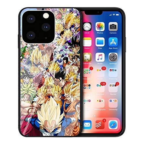MIM Global Dragon Ball Z Super iPhone Vidrio Templado Protectores Tempered Glass Case Cover Compatible para Todos iPhones (iPhone 12 Mini, DBZ)