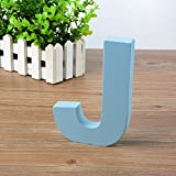 Wandbuchstaben aus Holz A-Z, blaue Deko-Wandbuchstabe für Kinderzimmer, Babyzimmer, Baby-Name, Mädchen-Schlafzimmer J