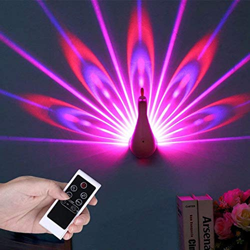 GKJRKGVF Peacock Projectie Light 7 kleuren USB oplaadbaar Peacock Wall loper Light Room LED Night Light