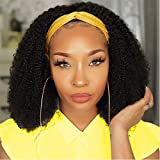 18 Inch Headband Wigs For Black Women Afro Kinky Curly Human Hair Wigs Non Lace front wigs Human Hair For Black Women Glueless Machine Made Headband Wigs Natural Color 180% Density Ali Jarin Hair