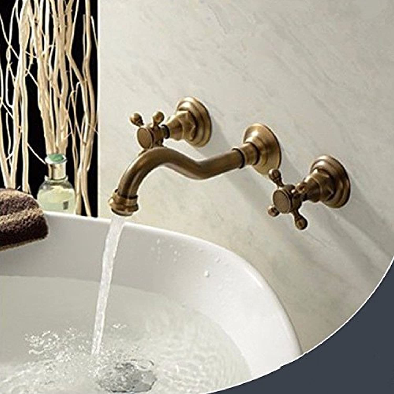 Lpophy Bathroom Sink Mixer Taps Faucet Bath Waterfall Cold and Hot Water Tap for Washroom Bathroom and Kitchen Retro Wall-Mounted Concealed Hot and Cold Water Ceramic Valve Three-Hole Double Handle