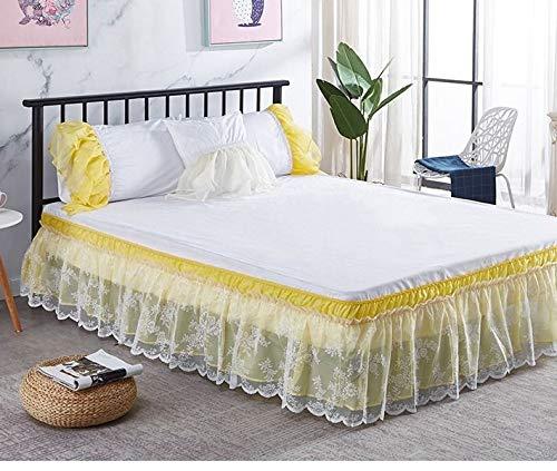 Falda de cama envolvente de encaje Sólido, colchón, funda de cama, polvos elásticos, volantes, faldas de cama, duraderas, envueltas alrededor de tres lados de tela con una caída de 15 pulgadas,