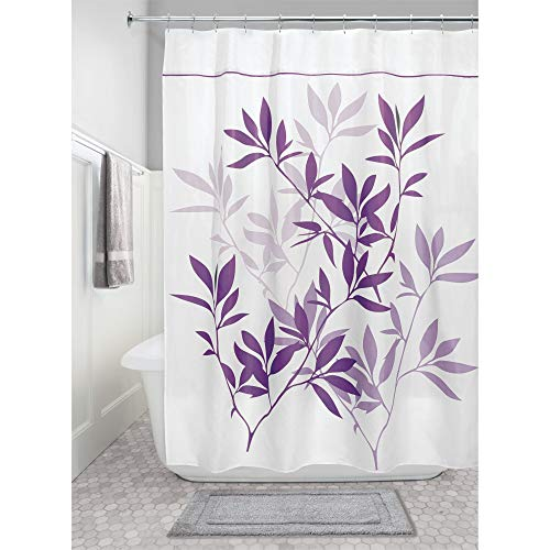 iDesign Leaves Fabric Long Shower Curtain for Master, Guest, Kids', College Dorm Bathroom, 72' x 84', Purple,35694
