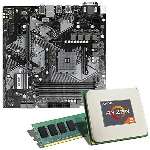 AMD Ryzen 5 1600 [12nm] / ASUS Prime B450M-A Mainboard Bundle / 8GB | CSL PC Aufrüstkit | AMD Ryzen 5 1600 6X 3200 MHz, 8GB DDR4-RAM, GigLAN, 7.1 Sound, USB 3.1 | Aufrüstset | PC Tuning Kit