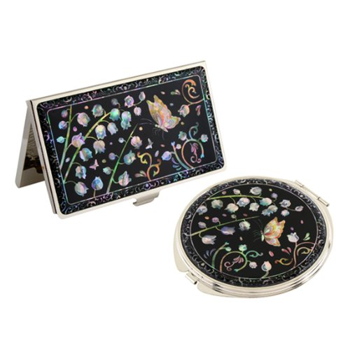 Set Miroir de Poche + Porte cartes de visite Nacre Collection Fleur MUGUET
