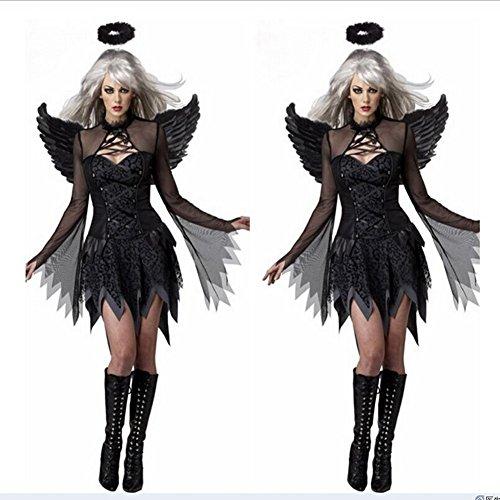 Costour Damen Schwarzer Engel Hexe Cosplay Kostüm Kleid Karneval Halloween Fasching Gothic, Schwarz, X-Large