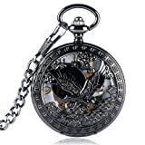 Relojes de enfermería Cool Flying Eagle Hawk Reloj de bolsillo mecánico Esqueleto Reloj colgante negro Hombre Mujer con cadena