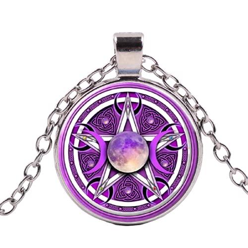 Collar de diosa triple luna, color morado, pentagrama sobrenatural, protección de Wicca, collares mágicos para hombres y mujeres