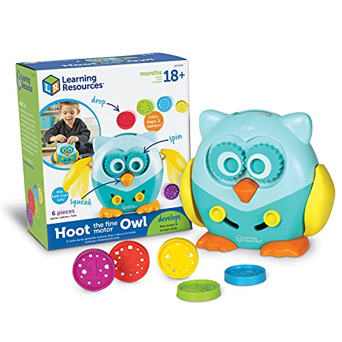 Learning Resources Hoot the Fine Motor Owl, Color, Shapes and Number Development, Fine Motor and Sensory Toy, Educational Toys for Toddlers, 6 Pieces, Ages 18 Months +
