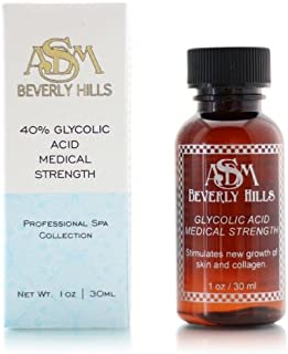 ASDM Beverly Hills 40% Glycolic Acid Peel |1 Ounce| Anti-Aging Treatment for Wrinkles, Acne Scars, Blackheads, Fine Lines, Oily Skin, and Dry Skin- Chemical Exfoliate Dissolves Dead Skin Cells