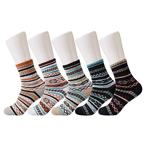 Ouskau 5 pares de calcetines unisex cálidos, estilo retro, de punto suave