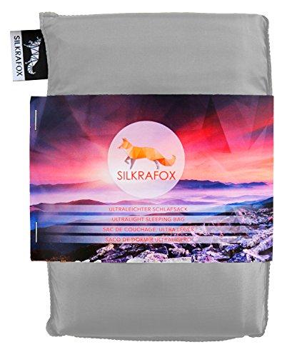 Silkrafox - ultraleichter Schlafsack, Hüttenschlafsack, Inlett, Sommerschlafsack, Kunst- Seidenschlafsack, grau