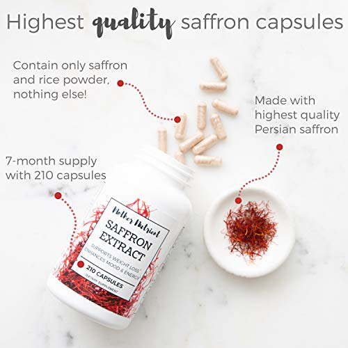 Saffron Extract Capsules with 88.50 mg of High-Quality Persian Saffron. Supplement Contains Whopping 210 Capsules. Powerful Antioxidant Provides Mood Boost, Heart & Eye Health. Crocus Sativus Extract.
