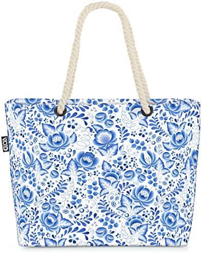 VOID Blauwe bloemen Strandtas 58x38x16cm 23L Shopper winkeltas tas beach bag shoppingtas