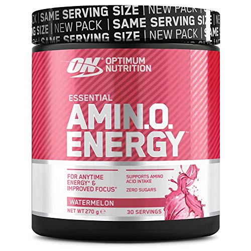 Optimum Nutrition Amino Energy, Pre Workout in Polvere, Energy Drink con Beta Alanina, Vitamina C, Caffeina et Aminoacidi, Anguria, 30 Porzioni, 270g, il Packaging Potrebbe Variare