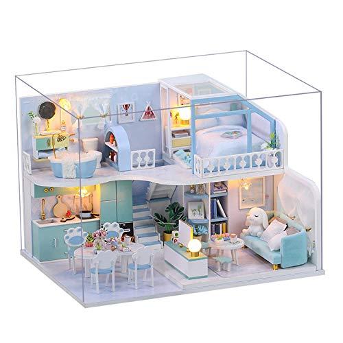 YJYQ Miniature Casa delle Bambole in Legna Kit Casa Fai da Te DIY 3D Princess Cabin Casa Assemblata A Mano Legna per Compleanno di Natale con Musicale