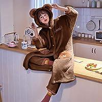 眠っている女性のローブセット厚い緩い長い漫画のナイトガウンコーラルぬいぐるみ豪華なフードかわいいセクシーなナイトガウンナイトガウンナイトガウンホーム服2ピーススーツ,C,L